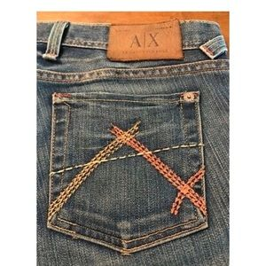 Armani Exchange Distressed whisker boot cut jeans